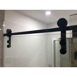Frameless Sliding Door L Shape Shower Screen With Matte Black Fittings 1600-1750 *900