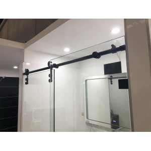 Frameless Sliding Door L Shape Shower Screen With Matte Black Fittings 1050-1200 *900