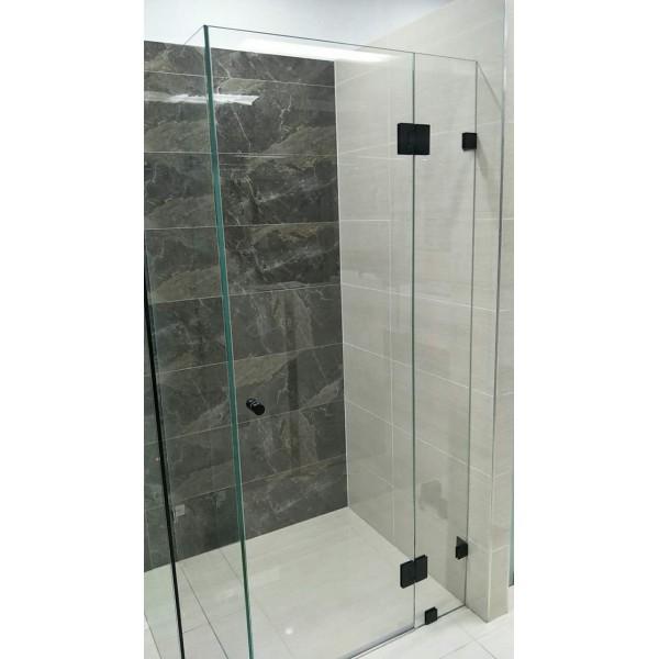 Great ... Matte Black L Shape Shower Screen Hinge H10 B