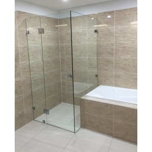 Australia Custom made frameless shower screen L shape (700-900)*(700-900)*2000H